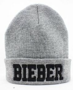 Justin Bieber Beanie (Gray with Black Logo)