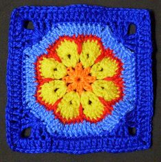 This is my first Africian Flower square... I had to block it before I could show it cause it was a bit wobbly... So girls... is it bright enough???... ha ha Off now to try the flower square Elizabeth Cat showed today... Thanks to Pertinitaco for the Africian Square pattern & Thanks to Elizabeth Cat for the African flower hexagon pattern so this is really a wonderful collaboration of great crocheters... thanks girls... UPDATE: here is Pertinitaco's graph... www.flickr.com/photos...