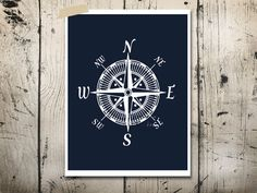 Nautical compass art print Modern nursery art Cottage beach house decor Bedroom wall art Navy Blue Boys room art