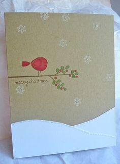 Christmas card bird on a branch