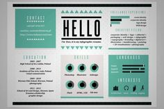 20 Cool Resume & CV Designs *Drools* These are such a great idea yes I will do this. How can I incorporate this into my HSC folio? Do I have Time tho... :(