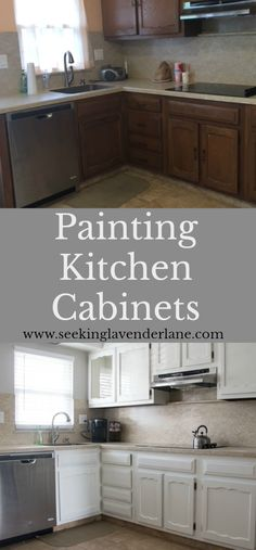 The affordable way to update your kitchen is with paint. Steps to painting kitchen cabinets and the before and after photos of the cabinets.