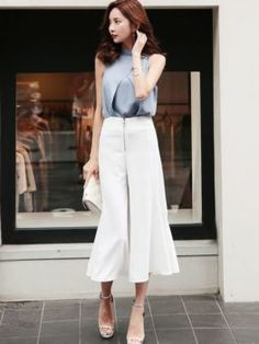 Cheap Women's Sets, Buy Directly from China Pieces Set O-neck Sleeveless Blouse and Zipper High Waist Wide Leg Pant Elegant Women Office Ladies Suits Summer Casual Outfit Ol Fashion, Girl Fashion Style, Modest Fashion, Fashion Pants, Daily Fashion, Fashion Outfits, Womens Fashion, Trajes Business Casual, Business Casual Outfits