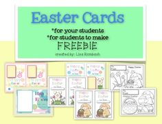 Happy Easter Cards FREEBIE (cards to make for your students and 2 full page printable coloring sheet cards for student to make) ***FREE***