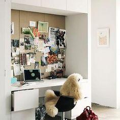 dens/libraries/offices - office chair, cork board, desk, desk nook, built in desk, built in desks, white built in desks, built in office desk,