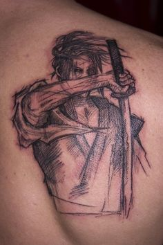 Zen and Samurai Tattoo: The Samurai Tattoo Stencil Design And Meaning On Upper Back ~ tattooeve.com Tattoo Design Inspiration
