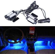 1 компл. авто Интерьер атмосферу света Обязанность автомобиля 12 В 4x3 LED Glow Декоративные 4 in1 синий Свет нога лампы стайлинга автомобилей(China)