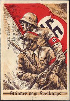 """1938 """"Männer vom Freikorps"""" sehr seltene ausdruckstarke Propaganda-Karte mit der Sudetenlandfahrt"""