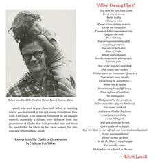 "Robert Lowell Elegy ""Alfred Corning Clark"""