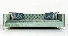 New Deep Sofa in Aqua Velvet by ModShop