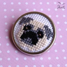 Cross Stitch Brooch with PUG - Embroidery - Embroidered Dog - Dog Portrait Tiny Cross Stitch, Free Cross Stitch Charts, Cross Stitch Boards, Cross Stitch Needles, Cross Stitch Designs, Cross Stitch Patterns, Cross Stitching, Cross Stitch Embroidery, Pug Cross