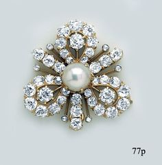 royal brooches | Natural Pearl, Diamond, Gold Trefoil Brooch by Tiffany & Co at Nelson ...