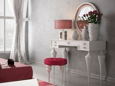 Everly Quinn Kirkwood Bedroom Makeup Solid Wood Vanity Set with Mirror Color: White Glossy Wood Makeup Vanity, Bedroom Makeup Vanity, Wooden Vanity, Vanity Set With Mirror, Vanity Stool, Mirror Bedroom, Contemporary Vanity, Glass Desk, Makeup Vanities
