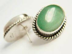 Sterling Silver & Aventurine Earrings - Vintage Mexico
