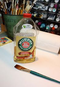 DIY: How To Renew Your Paintbrushes - if you forget to clean your brushes, soak for 24-48 hours in Murphy's Oil Soap. They'll be as good as new!