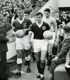 Home International football match at Ninian park. Wales captain John Charles and Scotland captain Eric Caldow lead out the teams before the match. Retro Football, Football Match, Football Players, John Charles, International Football, Revolutionaries, Glasgow, Ranger, Scotland