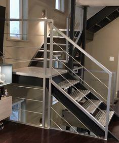 Interior Railings Vancouver - Aluminum Guardrail & Handrails (Commercial / Residential) - Metro Vancouver Railings Cable Railing, Stair Railing, Glass Stair Balustrade, Interior Railings, Glass Stairs, Modern Glass, Vancouver, Commercial, Google Search