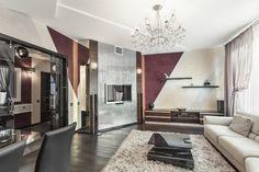 Wohnzimmerwände mit Farbe gestalten - schräge Streifen mit 3 Farben