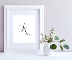 Initial K art print - Initial Print, Typography art print, K letter, Printable art, Initial art, Nursery Wall Art, Digital print