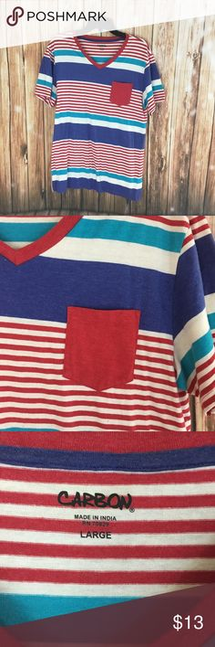 Carbon shirt This is a carbon striped shirt. It has a red pocket on the front. Shirts Tees - Short Sleeve