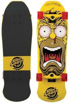 """Santa Cruz Skate Simpsons Homer Face Cruzer Skateboard Deck (9.5 x 31-Inch) by Santa Cruz Skate. $114.95. 24 years later we see this legacy resurrected as Homer is transformed into the classic monster graphic.. Santa Cruz Skateboards x The Simpsons  Back in 1988 Jim Phillips created the epic Rob Roskopp Face.. Trucks Bullet 160mm. Deck 9.5"""" x 31"""". Back in 1988 Jim Phillips created the epic Rob Roskopp Face.. Wheels OJ Hot Juice 60mm"""