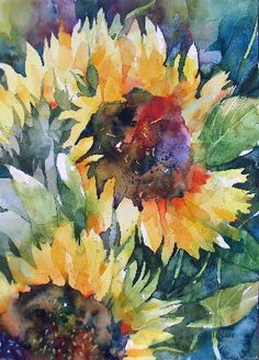 Floral/Still Life « Annelein Beukenkamp Watercolors. More sunflower glory!