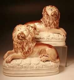 """Staffordshire Pottery Pair Of Recumbent Lions Ca1875 England. 10.5""""W."""