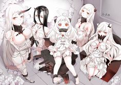 airfield_hime battleship-symbiotic_hime black_hair bloomers blush boots breasts choker cleavage dress flowers garter group horns kabaneneko kantai_collection loli midway_hime northern_ocean_hime orange_eyes pantyhose polychromatic rose seaport_hime signed stockings thighhighs white_hair