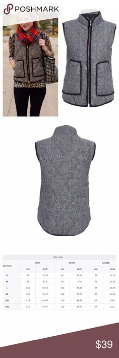Herringbone Winter Vest Brand new! Cute and stylish winter vest. Pair with your favorite flannel or blanket scarf. Ships same day if ordered by 10:00 CST. Bundle 3 items for 15% discount. Jackets & Coats Vests