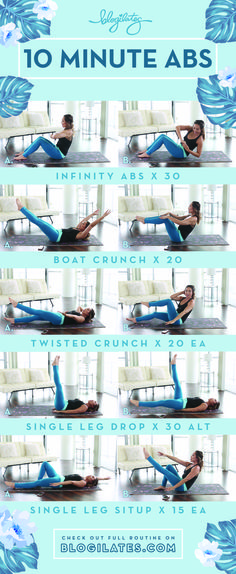 5 of the most effective moves for strengthening and toning your abs! 10 minutes … 5 of the most effective moves for strengthening and toning your abs! 10 minutes and you're done! Fitness Workouts, Fitness Motivation, Abs Workout Routines, Pilates Training, Pilates Workout, Pop Pilates, Effective Ab Workouts, Easy Workouts, At Home Workouts