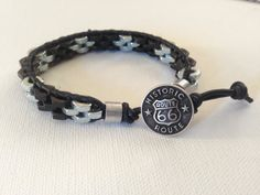 Men's Black and Silver Hex Nut Bracelet Stainless With Route 66 Closure Unique Christmas Gift
