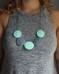 Silicone teething necklace. Flat round mint and grey beads, for mom and baby.
