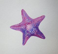 Purple Starfish Original Watercolor Painting Tropical Nautical Marine Ocean Art