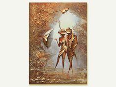 Original Öl Leinwand Kunst Malerei Blattgold Malerei pastose