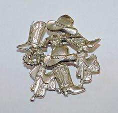 872~Vintage Silvertone Southwestern Style Figural Cowboy Boots Gun Brooch Pin**