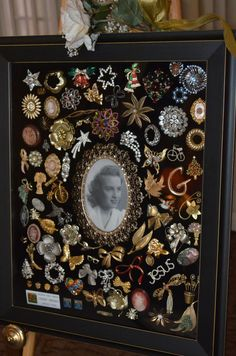 I created this shadow box using my mother's collection of brooches.  It was placed on display at her memorial service.  It was heart-warming to see her old friends point to a particular pin and remember her wearing it, or better yet, they remembered giving it to her.
