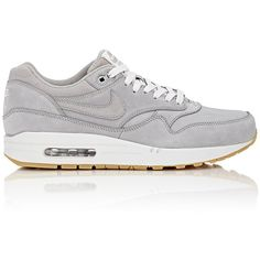 Nike Air Max 1 Leather Premium Sneakers ($135) ❤ liked on Polyvore featuring men's fashion, men's shoes, men's sneakers and grey