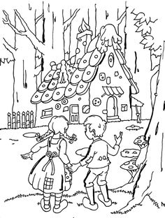 Hansel et Gretel CM, cycle 3 Coloring Pages For Grown Ups, Cartoon Coloring Pages, Colouring Pages, Free Coloring, Coloring Pages For Kids, Adult Coloring, Coloring Books, Hansel Y Gretel Cuento, Fairy Tale Projects