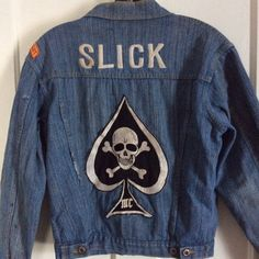 Vintage MC motorcycle club, customized denim jacket.