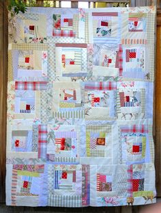 """Scrappy low volume log cabin with red.  nifty quilts: My Attempt at """"Low Volume"""""""