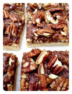 Raw Pecan pie bars, no bake, gluten free, dairy free. Cashew, dates, pecan, honey, coconut oil, cinnamon...