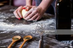 Stock Photo : Making dough by female hands at bakery How To Make Dough, Bakery, Hands, Stock Photos, Female, Food, Meal, Bread Store, Eten