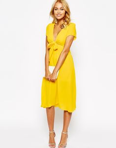 Love Bow Front Midi Dress..just need a cami with it!