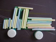 Great preschool craft: draw an outline of a vehicle, have child paint glue inside of it, and then place cut straws on the glue