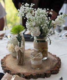 Rustic Mason Jar Wedding Centerpiece Set of 3 | eBay