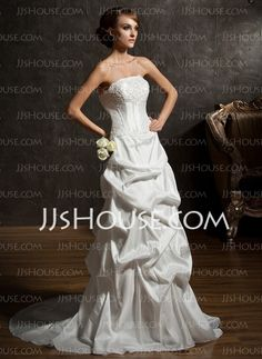 Wedding Dresses - $147.19 - A-Line/Princess Strapless Chapel Train Taffeta Wedding Dresses With Ruffle  Beadwork (002011519) http://jjshouse.com/A-Line-Princess-Strapless-Chapel-Train-Taffeta-Wedding-Dresses-With-Ruffle-Beadwork-002011519-g11519