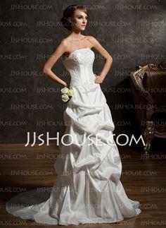 Wedding Dresses - $147.19 - A-Line/Princess Strapless Chapel Train Taffeta Wedding Dresses With Ruffle  Beadwork (002011519) http://jjshouse.com/A-Line-Princess-Strapless-Chapel-Train-Taffeta-Wedding-Dresses-With-Ruffle-Beadwork-002011519-g11519