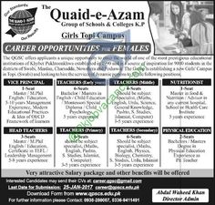 Quaid E Azam Group of Colleges KPK Girls Topi Campus 17 January 2017