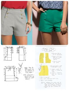 Hot pants pattern Shorts navy military button front retro v This Pin was discovered by Ker Sh ort com botão Diy Shorts, Make Your Own Clothes, Diy Clothes, Hot Pants, Dress Sewing Patterns, Clothing Patterns, Fashion Sewing, Diy Fashion, Diy Pantalones Cortos