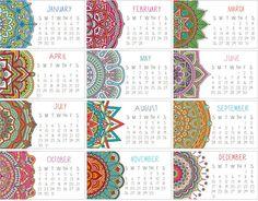 2017 Calendar Set of TWO Mandala Mini Calendar Business Free 2018 Calendar, 2021 Calendar, Kalender Design, Business Calendar, College Problems, Calendar Wallpaper, Artisanal, Arabesque, Small Gifts